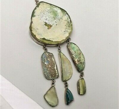 Vtg Sterling Silver Ancient Roman Glass Necklace Pendant Israel Chain Large