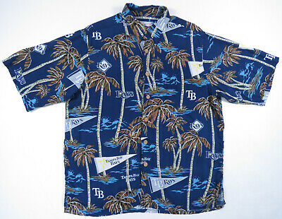 Tampa Bay Rays MLB Reyn Spooner Hawaiian Rayon Button Up Short Sleeve Shirt M
