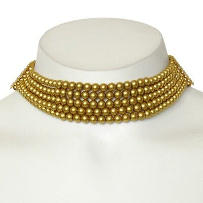 Antique Victorian 14K Gold Beaded Multi Strand Choker Necklace w/ Seed Pearls