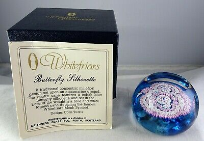 Whitefriars Butterfly Silhouette Art Glass Paperweight with Box