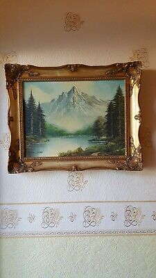 Oil Painting On Canvas, Mountain Valley Landscape By Joachim Lange.