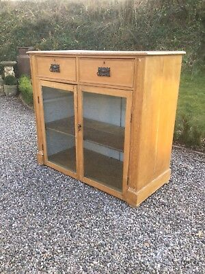 Antique Pine Glazed Kitchen Cabinet / Cupboard With Drawers Sn-800