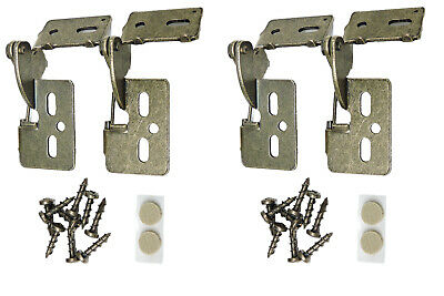 """4 Self Closing Concealed Cabinet Hinge 3/8"""" Inset Antique Brass Youngdale #4"""