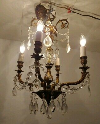 Vtg/Antique Ornate Chandelier 4 Light Fixture Spanish Brass/ Crystals