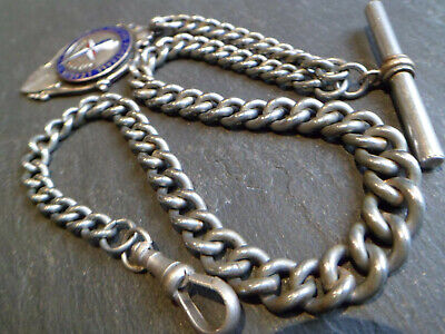 HEAVY 49g Antique Silver Tone CHUNKY Albert Pocket Watch Chain and Fob Medal