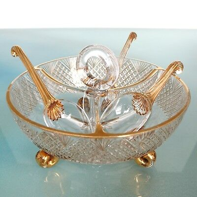 Antique French CUT CRYSTAL BOWL AMAZING SET! GILDED! Plus 3 GLASS SPOONS! France