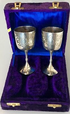 Vintage Pair Of Silver Plate Chalice Goblet Wine Cup Glass Wedding Anniversary