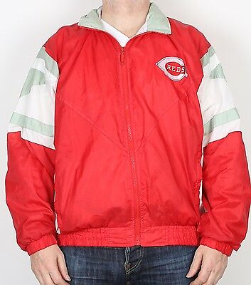 """Cincinnati Reds Shell Suit Track Top 42"""" 44"""" Large Bomber jacket 90's (83F)"""