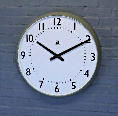 Large Mid-Century TR Services Vintage Retro Industrial Factory Wall Clock