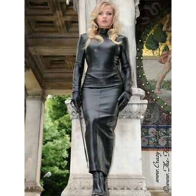 Crazy Outfits Ledertop Leder Top Schwarz Langarm Zipper US 10 M 40 Sexy leather