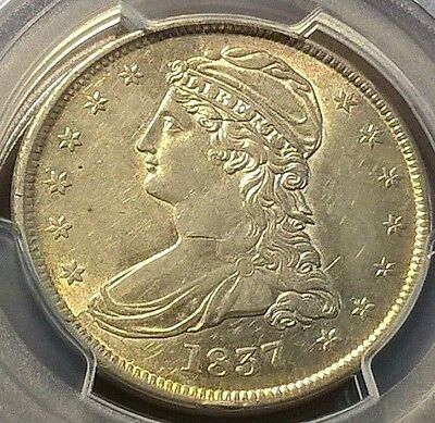 1837 Capped Bust Half Dollar  PCGS AU details GR-5    special coin!