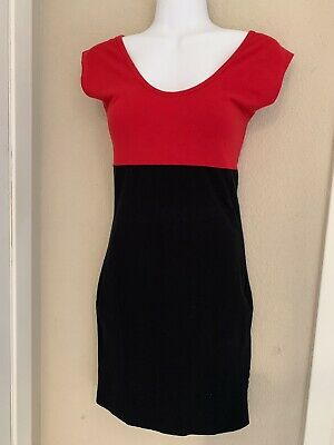 American Apparel Womens Bodycon Dress Red Black Size Small Short Sleeve