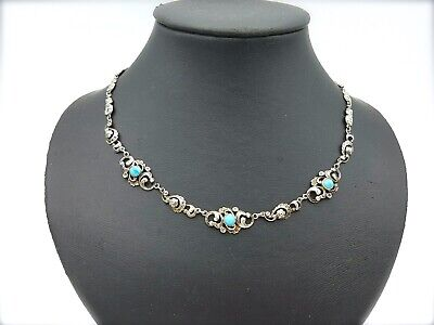 Antique Georgian Victorian Turquoise Bead Silver Necklace ca. 1830 - 1860s
