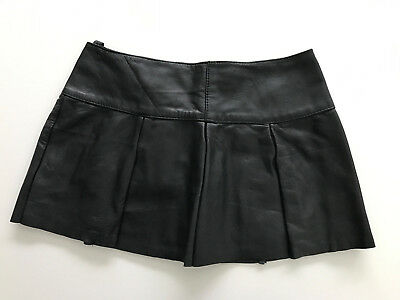 sz M Sexy Jupe cuir noir Schwarz Black leder rock leather skater short skirt