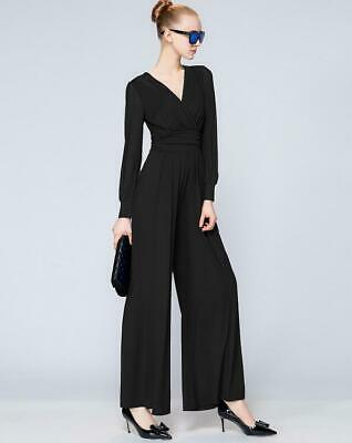 Womens Jumpsuits Rompers Mesh Long Sleeve V-Neck Bell-bottoms Long Pants Zsell