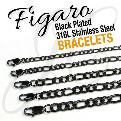 Black Plated Stainless Steel 316L Figaro Chains Bracelets 4-10mm Men Women