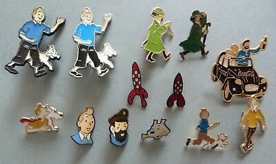 Rare Lot 12 Pins Pin's Vintage Tintin Et Milou Fusee 2 Cv + 1 Broche Tournesol
