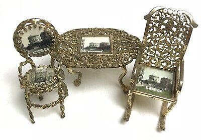 Antique Vintage Old Dolls House Miniature Royal Windsor Chairs / Table