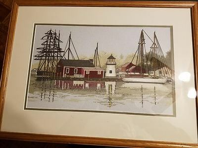 Sail Boat Ship Harbor Sea Water Scene Lighthouse Framed Needlepoint Cross Stitch