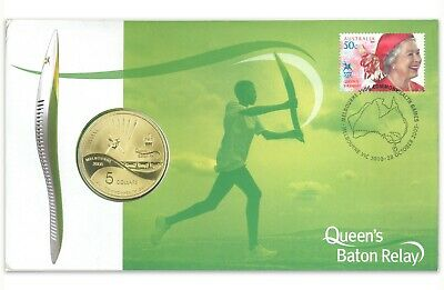 Australia 2005 Queen Baton Relay Commonwealth Game $5 UNC Coin & Stamp PNC Cover
