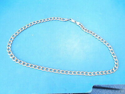 Mens Heavy 20 Inch Sterling Silver 925 Italy Curb Link Neck Chain Necklace 34.5