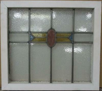 "OLD ENGLISH LEADED STAINED GLASS WINDOW Pretty Geometric Band 20.25"" x 18.25"""