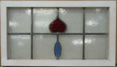 "MIDSIZE OLD ENGLISH LEADED STAINED GLASS WINDOW Nice Abstract Drop 26.25"" x 15"""