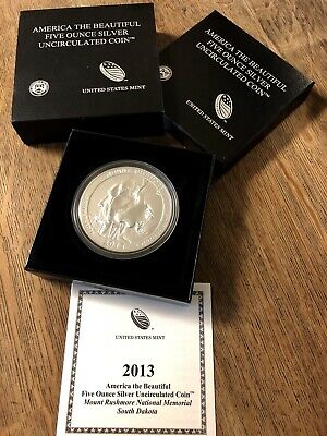 2013 America The Beautiful, 5 oz Silver Uncirculated Coin, Mount Rushmore