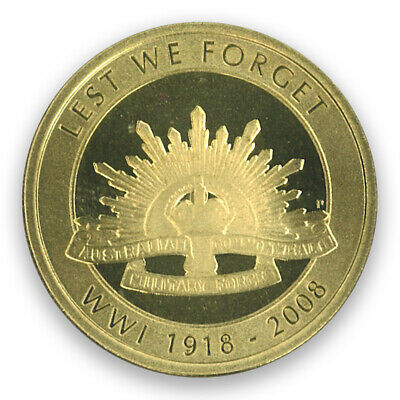 Australia 2008 Remembrance 90th Anniv. End of WWI $1 UNC Coin In Capsule/Carded