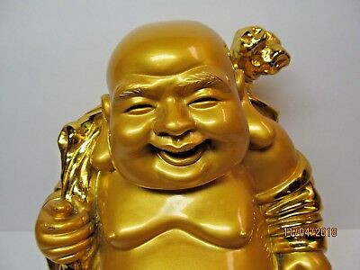 Large Gold Buddha Statue Treasure Bowl Big Fat Happy Laughing Vtg Figurine