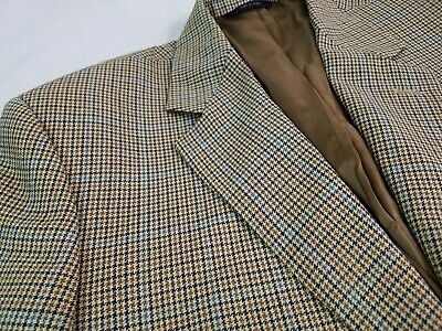 BROOKS BROTHERS Mens Sport Coat Blazer ITALY 41L Houndstooth Gold Blue 100% Wool