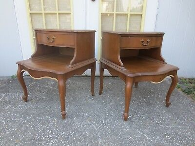 Pair Step Nightstands End Tables French Country Side Provincial 2 Cabriole Tier