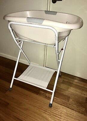 Roger Armstrong Baby bath on stand, white/grey, fold flat stand