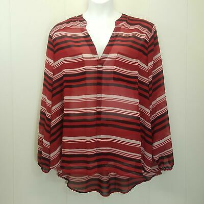 Torrid 4 Shirt Top Blouse Red Black Stripe Sheer Hi Low Hem Plus Size Popover
