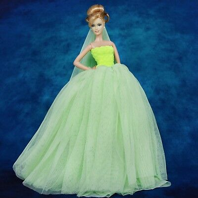 Princess Elegant Green Wedding Dress Gown Long Veil Clothes for 12 in. Doll Good