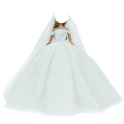 Good Quality Blue Princess Wedding Dress Gown Long Veil Clothes For 12 in. Doll