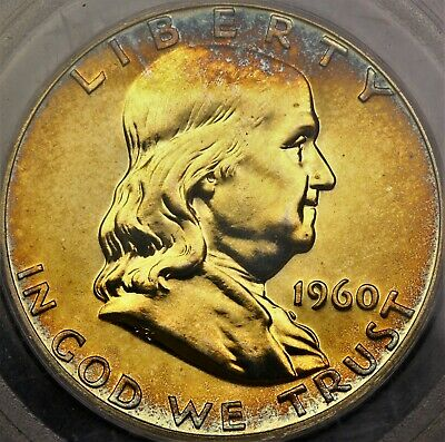 Toned PR66 1960 Proof Franklin Half Dollar 50c Nice Blue Gold Color PF66 PR PF