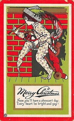 Christmas~Boy in Pointy Toe Pajamas Rides Stick Horse~Stocking~Red Green~544 A