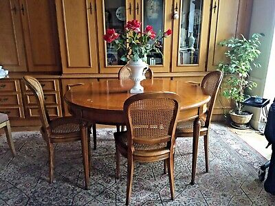 SALLE A MANGER merisier massif Ovale 4 chaises Cannees TB