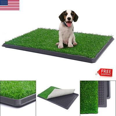 Pet Potty Trainer Grass Mat Dog Puppy Pee Patch Pad w/Tray Indoor Outdoor Toilet