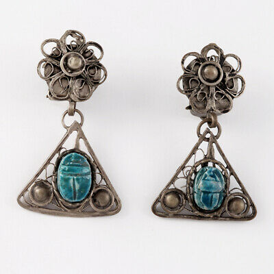 Antique Blue Faience Carved Scarab Beetle Earrings Egyptian Revival Vtg Jewelry