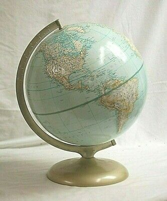 """Vintage Rand McNally World Map 3D Topography 12"""" Diameter Globe w Stand Man Cave"""