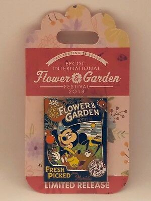 Disney Epcot Flower and Garden Mickey ad Pluto LR Pin Fresh Picked NEW