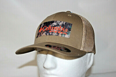 1f186f1ad83bb Columbia PHG Camo Patch Mesh Flexfit Ball Cap Hat in Flax and Camo Patch L