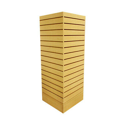 Revolving Slatwall Floor Display Rotating Cube Tower 4Sided Retail Fixture MAPLE