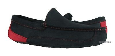 9444264e6cb UGG ASCOT BLACK Samba Red Suede Fur Slippers Mens 11 (Fits size 10 ...