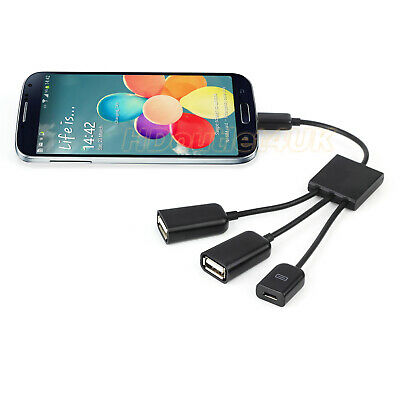 Micro  3 in 1 USB Hub OTG Connector Spliter Power Charging Cable Data Wire AU