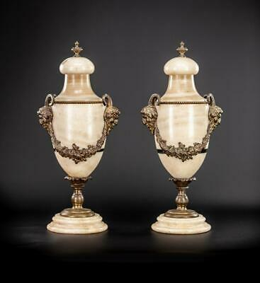 """Pair of Urns   Two Cassolettes French Antique White Marble and Gilt Bronze   17"""""""