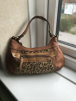 Ladies Fossil small Leather Bag With Animal Print Pony Skin