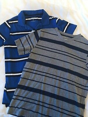 EUC boys 10/12 M 14/16 L Arizona lot of 2 blue navy gray short sleeve shirts